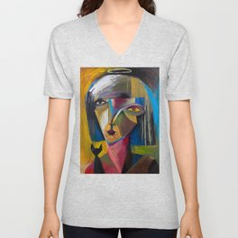Woman with Black Cat Unisex V-Neck