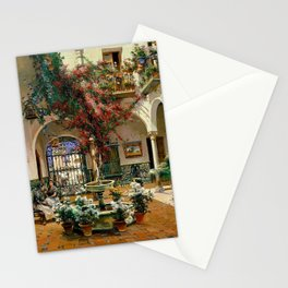 Interior Courtyard Seville Spain by Manuel Garcia Y Rodriguez Stationery Cards