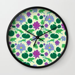 Jumping Frogs of Lily Pad Valley Wall Clock