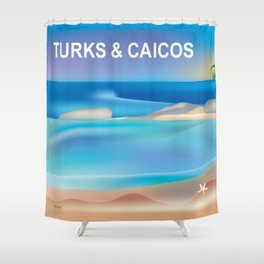 Turks and Caicos - Skyline Illustration by Loose Petals Shower Curtain