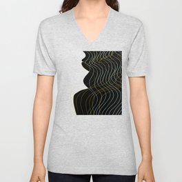 Waves Lines Black Unisex V-Neck
