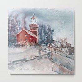 Big Bay Lighthouse Winter Metal Print