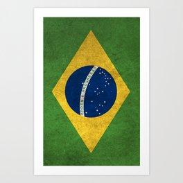 Brazil Flag (Vintage / Distressed) Art Print