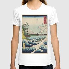 Hiroshige, Utagawa (1797-1858) - Mount Fuji and waves - Japanese woodblock print T-shirt