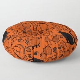 October Pattern- Black & Orange Floor Pillow