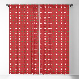 Christmas vector green and white horizontal and vertical stitches aligned on red background seamless Blackout Curtain