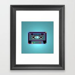 Retro Music Mix, Cassete neon Framed Art Print