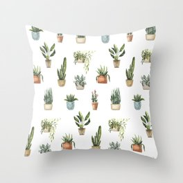 Potted Plants Watercolor Pattern Throw Pillow