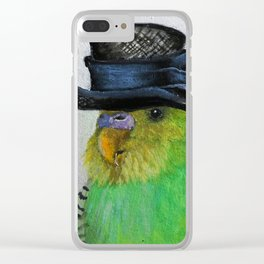 Parakeet Hat Parade #2 Roz Clear iPhone Case