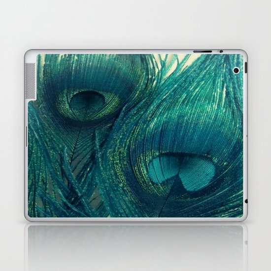 Teal Peacock Feathers Laptop & iPad Skin