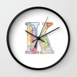 Letter K - Watercolor Monogram - Colorful Lettering - Watercolor Letter Print - Watercolor Initial Wall Clock