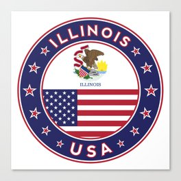 Illinois, Illinois t-shirt, Illinois sticker, circle, Illinois flag, white bg Canvas Print