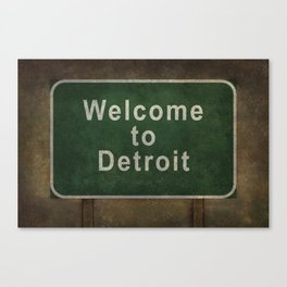Welcome to Detroit highway road side sign Canvas Print
