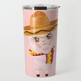 Cute Alpaca in Sombrero Travel Mug