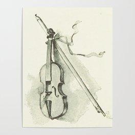 Violin, Vintage Old Book Illustration Poster