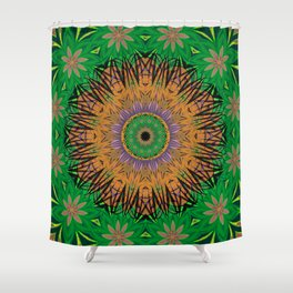 Retro Digital Art Polynesian Psychedelic Fun Floral Shower Curtain