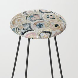 Art Deco Marble Tiles in Soft Pastels Counter Stool