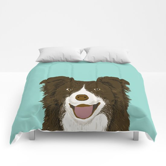 Border Collie chocolate brown cute working dog breed herding dogs gift for border collie owner pets Comforters