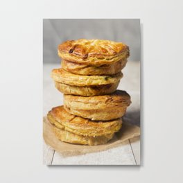 Stack of homemade meat pies on a rustic table Metal Print