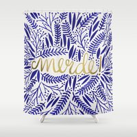 french Shower Curtains featuring Pardon My French  by Cat Coquillette