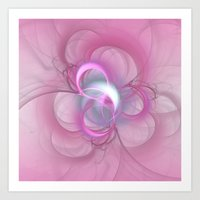 Pink Abstract Fractal on Pink Art Print