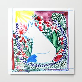 white fox in flowers landscape Metal Print