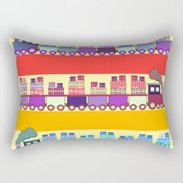 Colorful trains with Christmas gifts Rectangular Pillow
