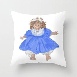 Doll in blue dress Throw Pillow