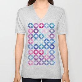 Geometric pattern with petals. Turkish pattern. Unisex V-Neck
