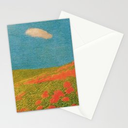 Red Poppies Tuscany Pastoral Landscape by Gaetano Previati Stationery Cards