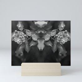 Mirroring black and white roses monochrome flowers Mini Art Print