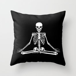 Meditation Skeleton Throw Pillow