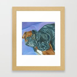Boxer Buddies Dog Portrait Framed Art Print