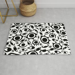 Watercolor Psychedelia - REALIZE Black and White Rug