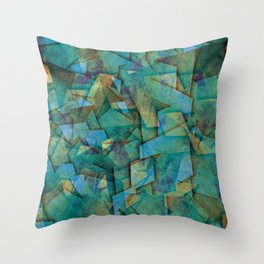 Fragments In blue - Abstract, fragmented art in blue Throw Pillow