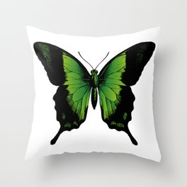 Green Butterfly | Vintage Butterfly | Green and Black | Throw Pillow