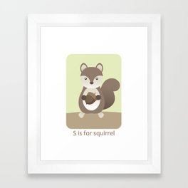 S is for Squirrel - Woodland Animals Framed Art Print