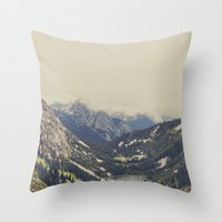 buildings Throw Pillows featuring Mountain Flowers by Kurt Rahn
