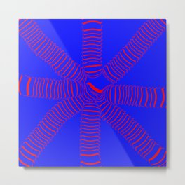 8 arms, red on blue Metal Print