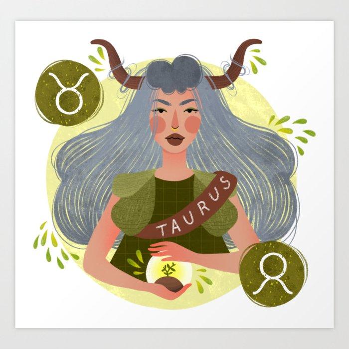 Taurus Zodiac Illustration Art Print