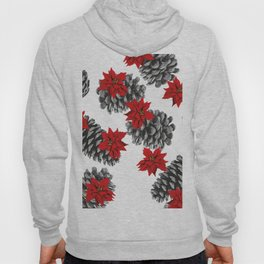 Pinecone and red Poinsettia pattern design big Hoody