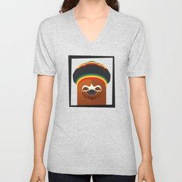Funny Reggae Sloth With Rasta Hat Unisex V-Neck