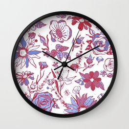 Red, Blue & White Garden Chintz Wall Clock
