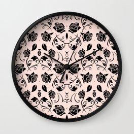Black Rose Flower Pattern Print Wall Clock