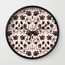 Black Rose Flower Pattern Print Wall Clock
