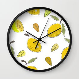 Seamless Pattern with Yellow Hand Drawn Lemons. Scandinavian Style Wall Clock