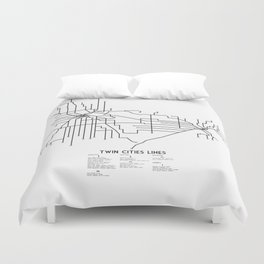 Twin Cities Lines Map Duvet Cover