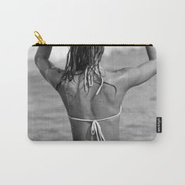 Little Italian Surfer Girl beach black and white surfing photograph Carry-All Pouch