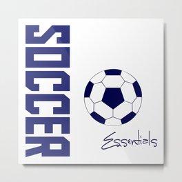 Soccer Essentials (blue) Metal Print