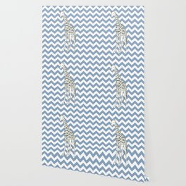 Rock Blue Safari Chevron with Pop Art Giraffe Wallpaper